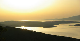 Zonsondergang op Hvar Royalty-vrije Stock Foto