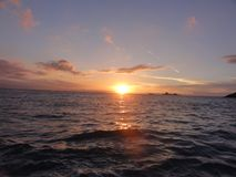 Zonsondergang op Ile aux Oiseaux - Frankrijk - vooraanzicht royalty-vrije stock foto