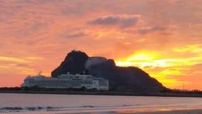 Zonsondergang op Isla de la Piedra Stock Afbeeldingen