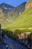 Zonsondergang op kleine stad Royalty-vrije Stock Foto's