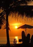 Zonsondergang op Kuta strand, Bali Stock Foto