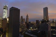 Zonsondergang op Lower Manhattan na Stroomuitval. Royalty-vrije Stock Foto's