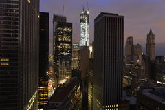 Zonsondergang op Lower Manhattan na Stroomuitval. Stock Foto