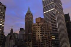 Zonsondergang op Lower Manhattan na Stroomuitval. Stock Foto's