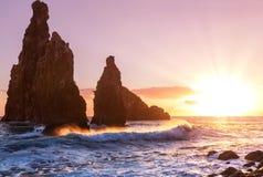 Zonsondergang op Madera stock afbeelding