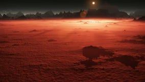 Zonsondergang op Mars De bergen van Mars, mening van de vallei na stofstorm stock videobeelden