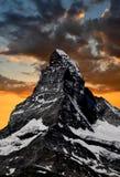 Zonsondergang op Matterhorn stock afbeelding