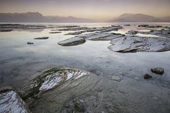 Zonsondergang op Meer Garda Stock Fotografie
