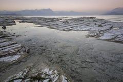Zonsondergang op Meer Garda Royalty-vrije Stock Fotografie