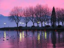 Zonsondergang op meer Genève 1 Royalty-vrije Stock Foto
