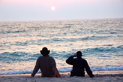 Zonsondergang op Meer Michigan stock afbeelding