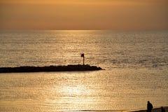 Zonsondergang op Meer Michigan Royalty-vrije Stock Afbeelding