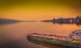Zonsondergang op Meer Windermere royalty-vrije stock foto's