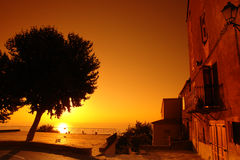 zonsondergang op Middellandse Zee Stock Fotografie