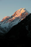 Zonsondergang op MT Cook Stock Afbeeldingen