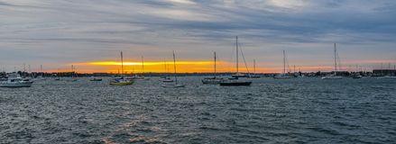 Zonsondergang op Narragansett-Baai royalty-vrije stock fotografie