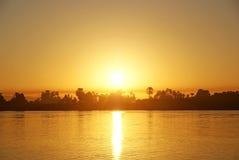 Zonsondergang op Nijl. Stock Afbeeldingen