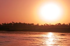 Zonsondergang op Nijl Stock Foto