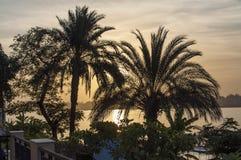 Zonsondergang op Nile River Stock Afbeeldingen