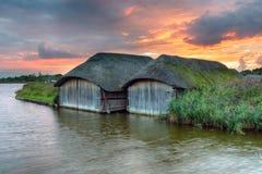 Zonsondergang op Norfolk broads Stock Afbeelding