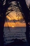 Zonsondergang op oceaan - Bayahibe - Dominicaanse republiek Stock Fotografie