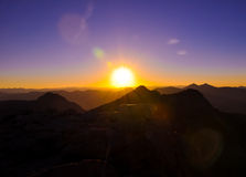 Zonsondergang op Onderstel Evans stock afbeelding