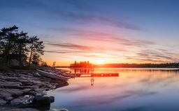 Zonsondergang op Oostzee Stock Fotografie