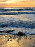 Zonsondergang op Oostzeekust, Litouwen Stock Fotografie