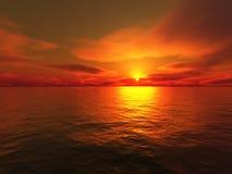 Zonsondergang op overzees vector illustratie