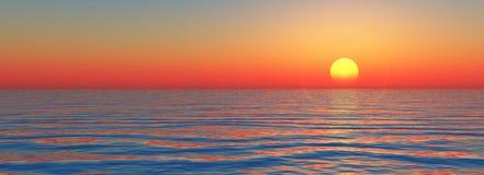 Zonsondergang op overzees Royalty-vrije Stock Afbeelding