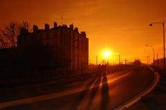 Zonsondergang op Parijs voorsteden Stock Afbeeldingen