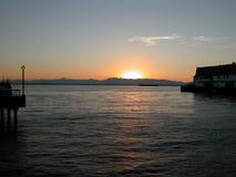 Zonsondergang op Puget Sound Stock Foto's