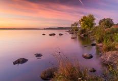 Zonsondergang op rivier Royalty-vrije Stock Foto's