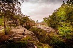 Zonsondergang op Rotsbrug stock afbeeldingen