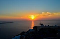 Zonsondergang op Santorini Stock Foto's