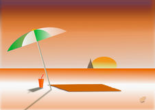 Zonsondergang op strand Royalty-vrije Stock Foto