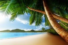 Zonsondergang op strand, Mahe-eiland, Seychellen Stock Foto's