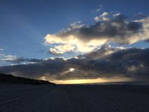 Zonsondergang op Sylt Royalty-vrije Stock Foto