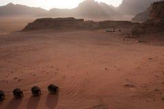 Zonsondergang op tenten in de woestijn van de Rum van de Wadi Royalty-vrije Stock Afbeelding