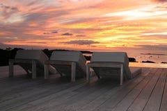 Zonsondergang op terras in Costa Rica royalty-vrije stock fotografie