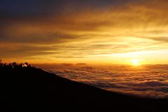 Zonsondergang op vulkaan, Maui Royalty-vrije Stock Foto