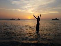 Zonsondergang op wather stock afbeelding