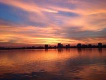 Zonsondergang op westlake stock foto