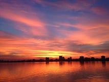 Zonsondergang op westlake royalty-vrije stock afbeeldingen