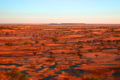 Zonsondergang op woestijn Stock Foto's