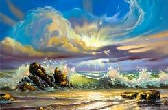 Zonsondergang op zeekust royalty-vrije illustratie