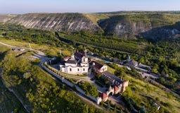 Zonsondergang in Orhei, Republiek Moldavië, Luchtmening royalty-vrije stock foto's