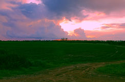 Zonsondergang over Afrikaanse landbouwgrond Stock Foto's