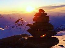 Zonsondergang over Alpen Mountais royalty-vrije stock fotografie