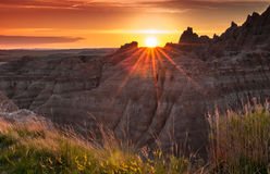 Zonsondergang over Badlands van Zuid-Dakota Royalty-vrije Stock Foto